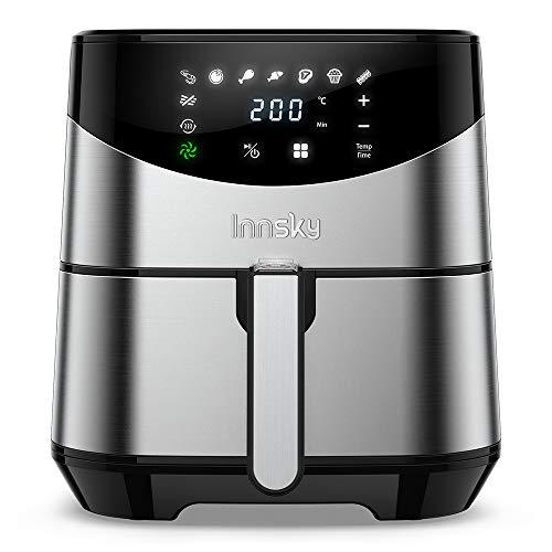 Innsky 5.5L Friteuse sans huile, friteuse à air chaude, en acier inoxydable, une grande écran tactile, cuisson rapide et intelligente à une touche, avec recette gratuite.