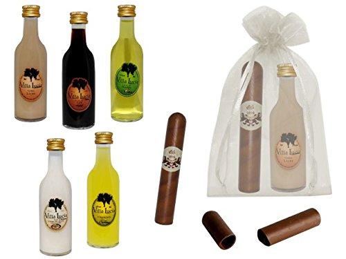 Lote de 15 Botellas de Licores Sol con Puros de Chocolate en Bolsas de Tull Lisas. Detalles de Bodas y Eventos.