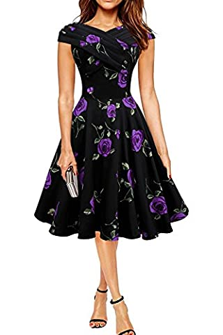 Minetom Femme Robe Vintage Années 1950 Style Audrey Hepburn Sans Manches Rockabilly Swing Robes de Cocktaile avec Grande Rose Violet FR 42