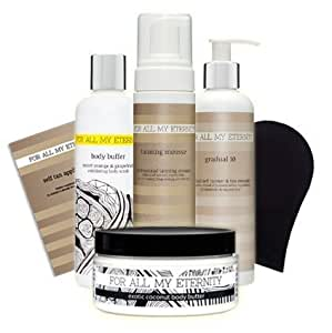 For All My Eternity HERO SELF TAN PACK Gift Set EVERYTHING for the PERFECT FAKE TAN - Natural Organic Tanning Mousse, Gradual Tan Lotion, Exfoliating Body Scrub, Body Butter & Tan Applicator Mitt