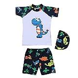 feiXIANG Kleinkind Badeanzug Schwimmanzug Kleidung gedruckt Dinosaurier Kids Boy Top Swim Trunk hat Set(Grün,85-90CM)