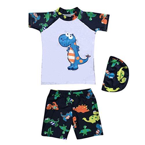 feiXIANG Kleinkind Badeanzug Schwimmanzug Kleidung gedruckt Dinosaurier Kids Boy Top Swim Trunk hat ()