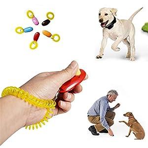 Eizur 5 Pièce Chien Clicker de Dressage avec Bracelet Élastique, Dog Training Clicker Pet Formation