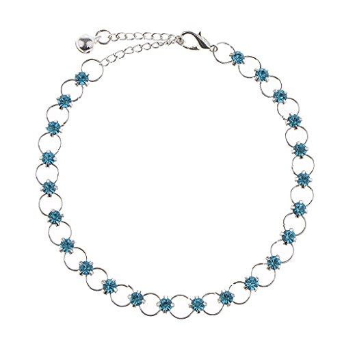 Homyl Boho Fußkettchen Fußkette, Knöchel Armband mit Kristall Straß Strand Barfuß Schmuck - Blau
