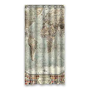 dalliy Custom cortina de ducha de mapa del mundo poliéster 90cm x 183cm