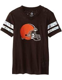 NFL Browns Youth Girls 7-16 Team Logo Opal Burnout SS Tee