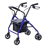 Lennov Lightweight Folding 6 Wheel Rollator Walker with Shopping Cart Collapsible Trolley