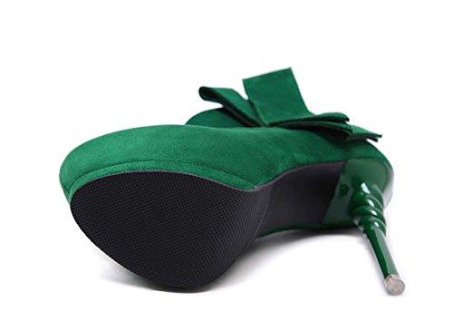 NobS Femmes Chaussures à Talons Hauts éTanches Shoesbow CôNes Talons Chaussures De Mariage Green