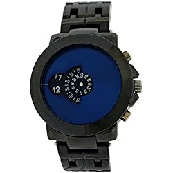 Softech Gents Modern Rotating Blue Dial Gunmetal Tone Bracelet Strap Watch SE234