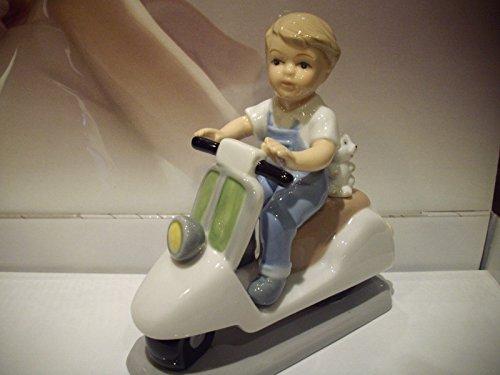 Bimbo vespa scooter moto in porcellana navel bomboniera battesimo comunione