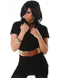 lili Damen Longshirt mit Gürtel, Farbe:Schwarz, Größe:S/M