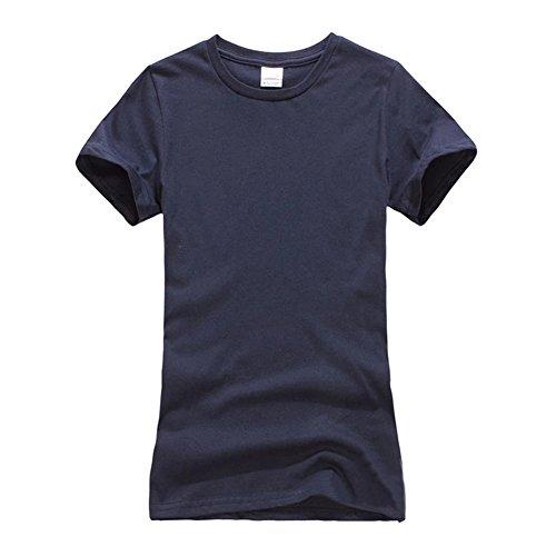 Femme T-Shirt à manches courtes - Uni - Coupe Droite - Col rond Marine