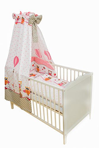 SWADDYL Kinderbettgarnitur 5 teilig, Bettwäsche Set (Kissen, Decke, Bettlaken) I Himmel I Nestchen, Bettset für Babybett Eule (Rosa)