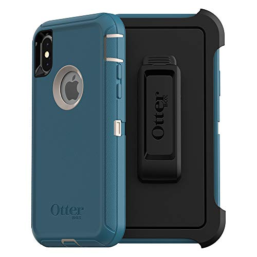 OtterBox Defender Series Screenless Edition Case & Holster for iPhone X/Xs (Renewed) - Big Sur (Pale Beige/Corsair)