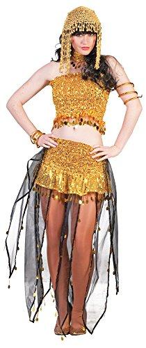 �m Meryem für Damen - Gold - Verführerische Bollywood Verkleidung als Haremsdame, Wahrsagerin, Zigeunerin oder Wüstenprinzessin (Zigeunerin Wahrsagerin Kostüm)