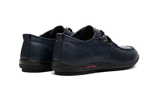 Wealsex Chaussures à Lacets Homme Cuir Souple Derby Homme Bleu