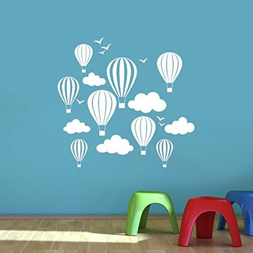 Enfants de ballons à air chaud avec nuages et oiseaux Sticker mural – Art Stickers en vinyle, pour chambre d'enfant, facile à appliquer, sans applicateur, facile – enlever (Veuillez Choisir votre taille et couleur grâce à la sélection Boîtes) – par Rubybloom Designs, blanc, Small 58cm x 55cm