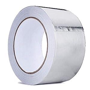 Cinta adhesiva de aluminio para sellado de aluminio cococity, conducto de cinta plateado brillante aislante para reparación de HVAC, conductos, aislamiento, secadores y más, 5 cm por 50 m, 1 rollo