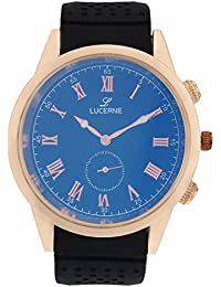 LUCERNE Analogue Blue Designer Dial Black Leather Strap Casual Watches For Men A Modern Men Watch Gifts For Friends