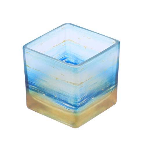 6 cm Nordic Glas Kerzenständer Hochzeit Bankett Dekoration Farbdruck Quadrat Kerzenhalter Restaurant Dekoration Zubehör (Aqua Blau)