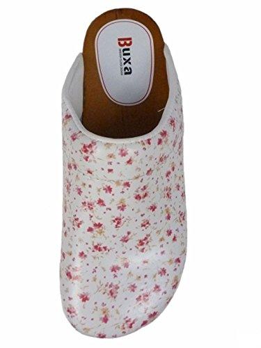 Buxa Damen Holz und Leder Clogs mit Polsterung Kleine Blumenmuster
