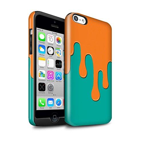 Coque Brillant Robuste Antichoc de STUFF4 / Coque pour Apple iPhone 7 / Orange/Bleu Design / Déversement Peinture Collection Orange/Bleu