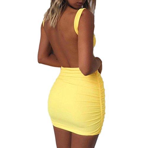 Kleid Transer® Damen/Mädchen Sleeveless Rückenfrei Mini Kleid Reizvolles Hauteng Cocktail Picknick Sommer Strand Polyester Schwarz Weiß Gelb Rosa Himmelblau Minikleid Gr.S-L Gelb