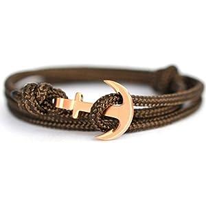 KOMIMAR Anker Armband Herbst braun / rosé - Bracelet - Bangle - Surferarmband - Wickelarmband - Geschenkidee - Armreif - Maritim - Strandschmuck - Anchor bracelet