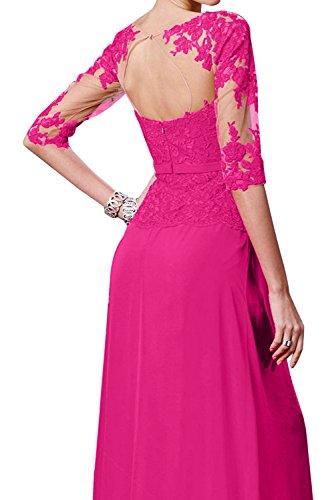 TOSKANA BRAUT Glamour Pink Neu 2017 Spitze Rund Chiffon Abendkleider Bodenlang Promkleider Partykleider Ballkleider mit Arm Blau