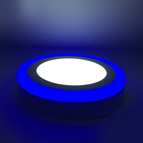 G.W.S 18W+6W bleu bord éclairé LED rond monté en surface downlight plafonnier blanc jour, transformateur LED inclus