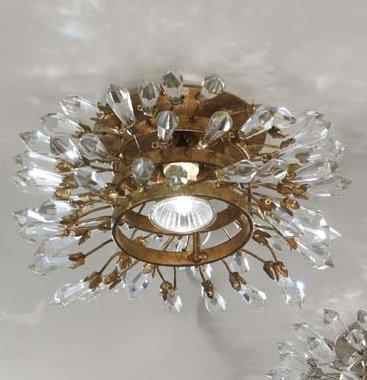 Confetti Kristall Einbauleuchte/Spots in Blattgold mit Patina dunkel   Handgefertigt in Italien   Einbaustrahler Klassisch Dimmbar   Lampe GU10