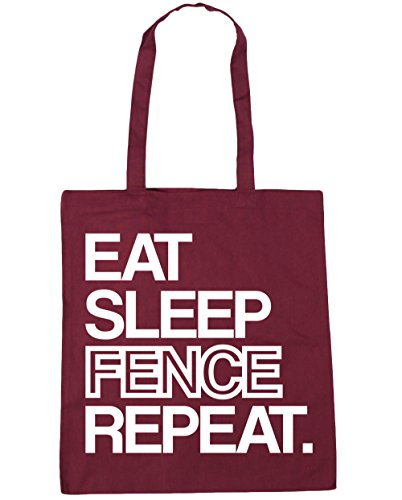 hippowarehouse-eat-sleep-fence-repeat-tote-shopping-gym-beach-bag-42cm-x38cm-10-litres