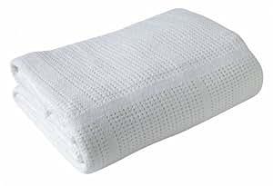 Clair de Lune Pram & Travel Extra Soft Cotton Cellular Baby Blanket (White)