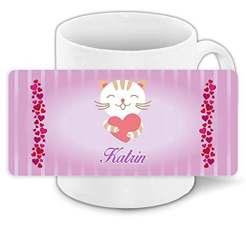 Tasse mit Namen Katrin und süßem Katzen-Motiv mit Herzen - Tasse für Kinder Keramiktasse 9