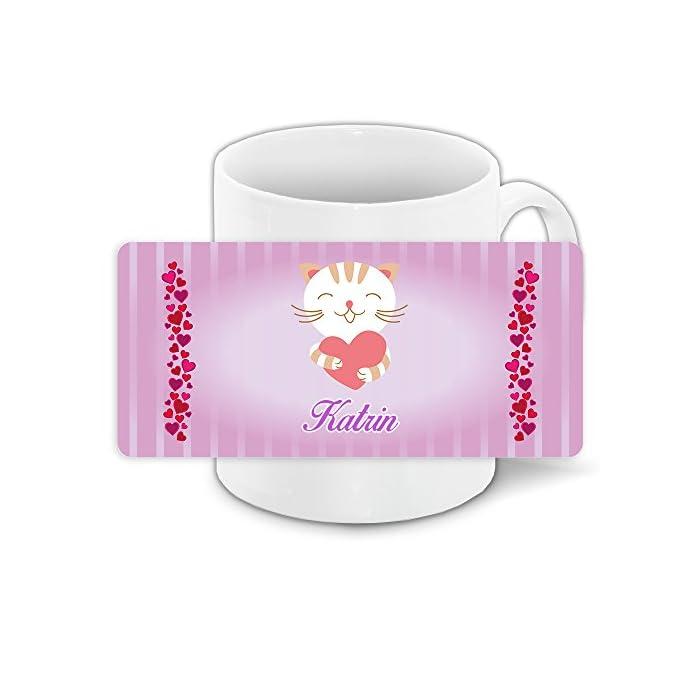Tasse mit Namen Katrin und süßem Katzen-Motiv mit Herzen - Tasse für Kinder Keramiktasse