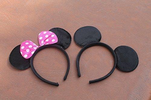 Qualitätsweichschaum Minnie und Mickey Mouse Ohren auf Stirnband mit rosa und Weiß gefleckten Bogen