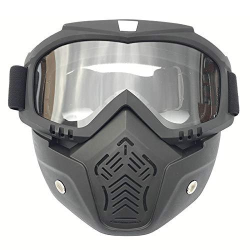 Amody Brille Retro-Helm-Maskenbrille Mountain Motorrad-Brille Gläser klar