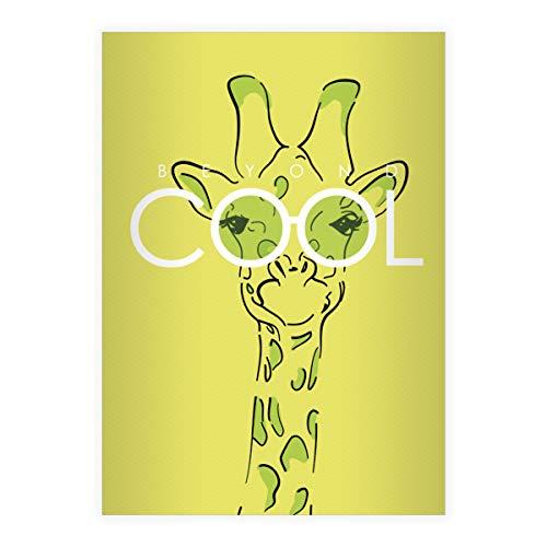 4 Beyond Cool DIN A5 Schulhefte, Rechenhefte mit Sonnenbrillen Giraffe, grün Lineatur 7 (kariertes Heft 16 Blatt/32 Seiten) Notizheft, Kladde für Schule, Universität, Büro
