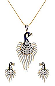 M CREATION Multi-Colour gold-plated Pendant Set For Women