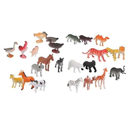 KESOTO 24stk. Kunststoff Waldtiere / Bauernhof Tiere Figuren, Geschenk für Kinder und Freunde (Miniatur-kunststoff-schwein)