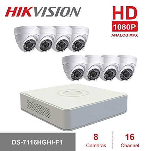 Kits de vigilancia DVR Hikvision Security DVR Systems, DS-7116HGHI-F1  16CH+1IP DVR with Anpvees 8pcs 4 in 1 1080P Dome Cameras, 15m Night  Vision,IP66