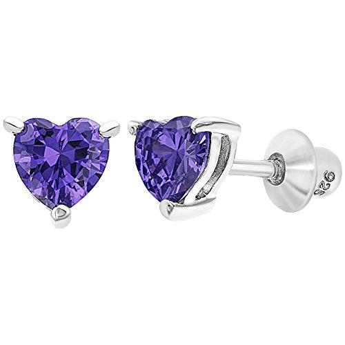 Orecchini da bambina a forma di cuore, con chiusura a vite, in argento sterling 925, con zirconia cubica e Argento, colore: Purple, cod. SS-03-00284