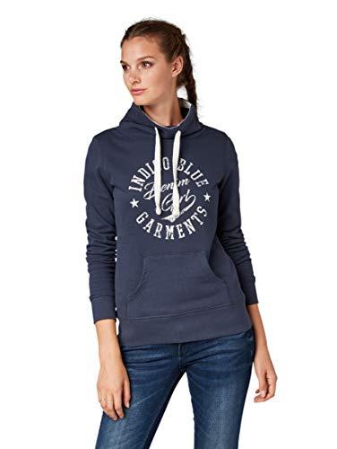 Feminine Denim Shirt Jacke (TOM TAILOR Denim Strick & Sweatshirts Sweatshirt mit Schrift-Print Harbour Blue, XS)