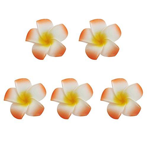 Kalaokei Plumeria Blumen Braut Haarnadel Haar Clip Zubehör Partyzubehör für Fotoaufnahmen Orange