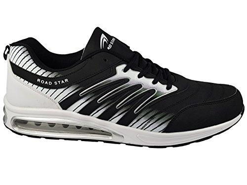 Unbekannt LEKANN Herren Schuhe Sportschuhe & Laufschuhe in Übergröße, Schwarz/Weiß Gr. 47
