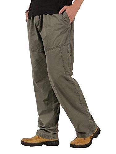 Pantalon Homme En Coton Coupe Large Pantalon De Jogging Travail Tissu Fin Casual Vert