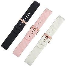 Pulsera de silicona para Fitbit Charge 2, de marca Wearlizer, color 3 Colors Pack - Black, White, Pink