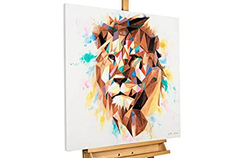 KunstLoft® tableau peinture sur toile à l'huile 'Kingly Tint' 80x80cm | tableau acrylique peint à la main | Toile sur cadre bois | Lion Multicolore Animal Roi Prédateur