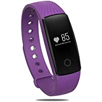 Braccialetto di sport, PALADY ID107 Cardiofrequenzimetro Bluetooth 4.0 braccialetto intelligente smartband Wristband fitness tracker per (Viola Bluetooth)