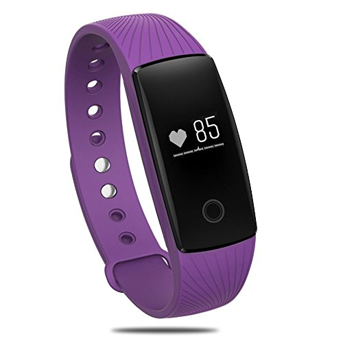 Sports Armband, palady id107 Bluetooth 4.0 Smart-Herzfrequenz Monitor Armband Fitness Tracker für Android iOS Smartphone, Royal Purple (Pedometer Bracelt)